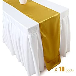 Ecore Gold Table Runner 10 Pack Satin Table Runners,12 x 108 Inches For Wedding Banquet Decoration