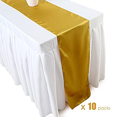Ecore Gold Table Runner 10 Pack Satin Table Runners,12 x 108 Inches for Wedding Banquet Decoration - Material:100% polyester satin,12x108 inches,10 pack Finish:all sides overlocked with clean look. Seamless, one-piece design Perfect for religious events, hotels, weddings, baptisms and Christening, baby showers - table-runners, kitchen-dining-room-table-linens, kitchen-dining-room - 410ERxjEflL. SS400  -