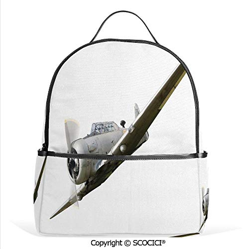 All Over Printed Backpack Historical Old War Aircraft Flying Fighter Propeller Wing Decorative,Grey White,For Girls Cute Elementary School Bookbags