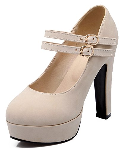 IDIFU Womens Sexy Two Straps Buckle Extreme High Chunky Heels Platform Pumps Shoes Beige