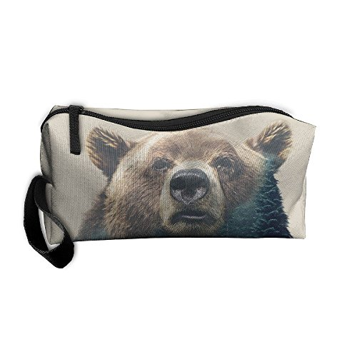 Grizzy Bear Landscape Makeup Cosmetics Pouch Travel Hanging Organizer Kit Bag