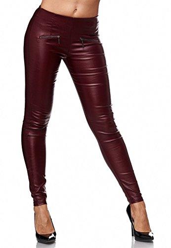 D2156 stretch ecopelle in Rosso in da donna Treggings Pantaloni sintetica pelle B1pq18