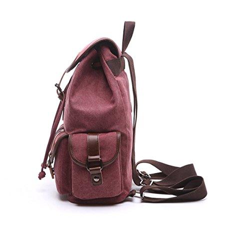 Backpack Multifunction Bag Men Travel Black Rucksack Shoulder Drawstring Canvas School Mochila Women Capacity Burgundy Large Backpack 44Xqg