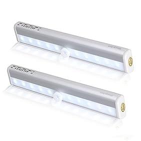 2 Pack Morpilot Motion Sensing Closet lights,PIR Sensor Portable Wireless Wall Cabinet Night Light Stairs Drawer Wardrobe Light, Magnetic light bar Stick-on Anywhere Battery Operated 10 Leds