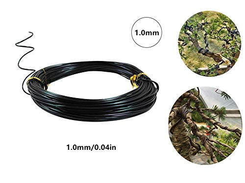 DEAYU 5 Rolls Bonsai Wires Anodized Aluminum Bonsai Coaching Wire, Corrosion and Rust Resistant – 25m/82 Ft(1.0mm, 2.0mm,3.0mm) (1.0mm)