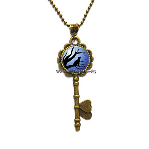 Blue Moon and Glass Key Necklaces Cat Galaxy Round Crystal Key Pendant Key Necklace Cat in Full Moon Key Necklace, Art Gifts, for Her, for him,PU012 (Brass)