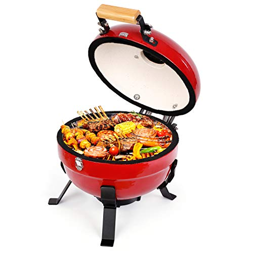 TUSY-Charcoal Grill 12 inch Portable Barbecue Grilling Advanced Grill Ceramic with Digital Thermometer, Lightweight for Picnics, Backyard, Party, Camp, Lake Outdoor Cooking