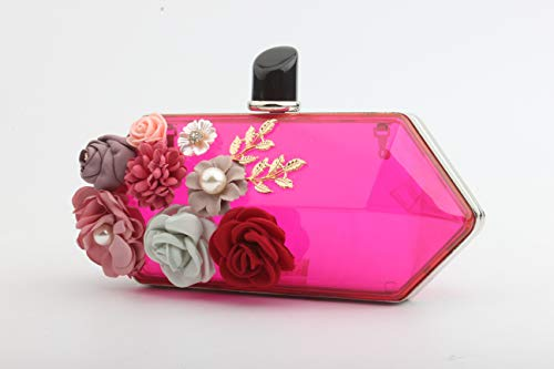 Bags EPLAZA Beaded Transparent Clutch Wedding Acrylic For Handbag Purse Bride Red Women Party Prom Evening Flowers Rose 8wr8qpY