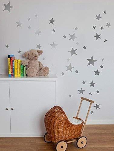 Bluelans® 39pcs Stars Wall Sticker Star Nursery Children Room Wall Art  Sticker Decal (Silver)