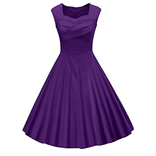 VOGVOG Womens 1950s Retro Vintage Cap Sleeve Party Swing Dress, Purple, Small