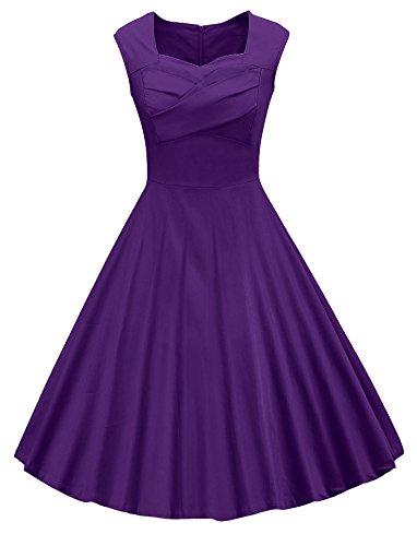 VOGVOG Women's 1950s Retro Vintage Cap Sleeve Party Swing Dress, Purple, (Cap Sleeve Vintage Cap)