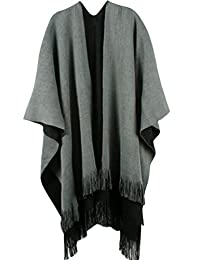 Wowfou Women's Winter Knitted Cashmere Poncho Capes Shawl Cardigans Sweater Coat