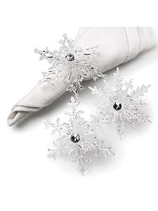 "Set of 6 Pieces 3"" Clear Acrylic Snowflake Snow Elegant Napkin Rings"
