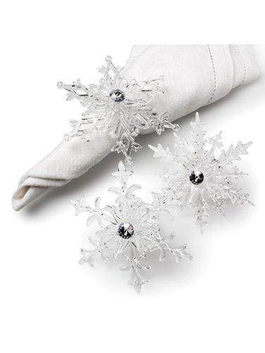 Elegant Clear Acrylic Snowflake Napkin Rings Set of 6