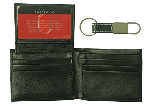 Perry Ellis Portfolio Mens Leather Bi-fold Wallet
