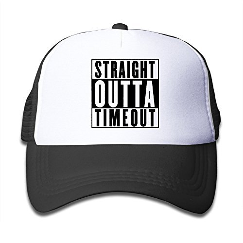 Boys&Girls Straight Outta Timeout Two-toned Baseball Cap Hats Black (Hat Wedding Baseball)