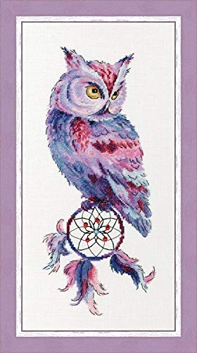 Owl on Dream Catcher Counted Cross Stitch Kits 80x200 Stitch Egyptian Cotton Floss, Counted Cotton Owls Cross Stitch - Cross Dreams Stitch
