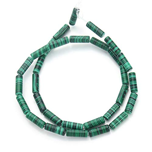 1Strand/lot Natural Stone Malachite Crystal Long Tube Beads 4.5x13mm Cylinder Round Loose Spacer Beads Diy Jewelry Making