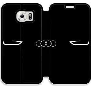Hd Audi Logo caso E8Y26X8 Teléfono caso funda de cuero del tirón X3P82E7 Samsung Galaxy S6 fundas de plástico transparente