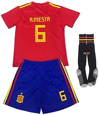 FFF Copa Mundial de Fútbol Camiseta de la selección, la Copa Mundial de 2018 NO.6 Camiseta Shorts, Manga Corta + Calcetines/niño de tamaño estándar: Amazon.es: Deportes y aire libre