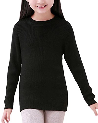 Kids Long Sleeves Casual Basic Solid Colors Cashmere Wool Crewneck Warm Knitted Pullover Jumper Sweater for Little & Big Girls, Black, Label Size 120 = 4-5 Years