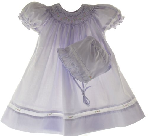 Petit Ami Infant Baby Girls Lavender Smocked Dress & Bonnet - 6M