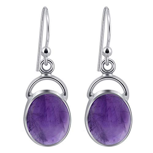 Style Amethyst Cabochon Earrings - 925 Sterling Silver Oval Amethyst Cabochon Gemstone Drop Earrings with French Hook