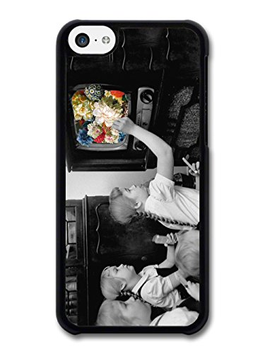 Retro Vintage Television Photograph with Flowers Floral Photo case for iPhone 5C