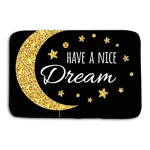 Jieifeosnnxz Doormat Indoor Outdoor Vector Print Text Have Nice Dream Wishing Card witing Moon Stars Gold Colors Black Postcard Isolated Background mat