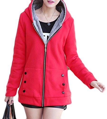 Lined UK Jacket Sweatshirt Hooded Long Red today Sleeve Fleece Womens qwx1O8dX