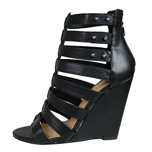 Wild Diva Women's Elisha19 Black Leatherette Gladiator Wedge Size 7.5 M US