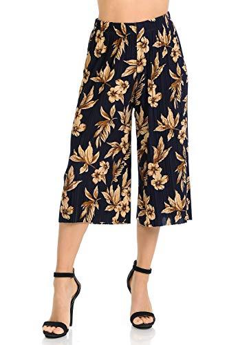 Auliné Collection Womens Pleated High Waist Wide Leg Cropped Capri Culotte Pants - Golden Hour Floral
