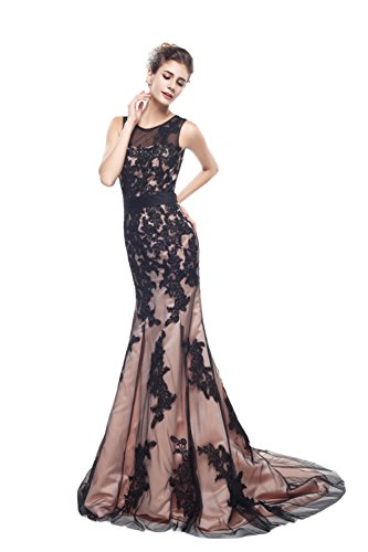 Champagne Reißverschluss Jewel Damen engerla Empire Black Mermaid Spitze Abendkleid Aufnäher BxHz7gwqx