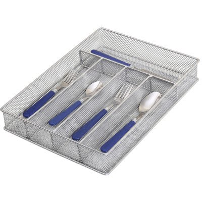 Ybm Home Silver Mesh Cutlery Holder In-drawer Utensil Flatware Organizer/tray size 12-1/2 By 9-1/4 By 2 Inches 1133 (5-compartment)