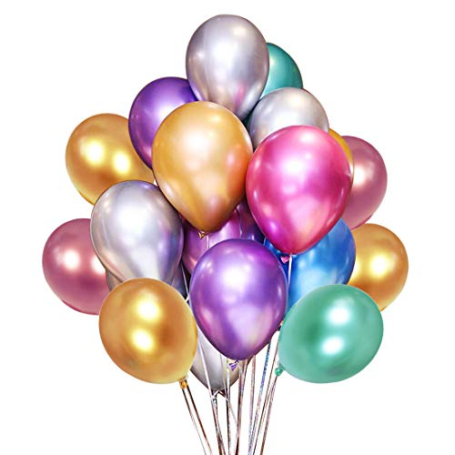 Balloons With Designs (Metallic Gold Balloons 50PCS 12inch Multicolor Metallic Latex Balloon for Party Decoration, Wedding Birthday Baby Shower)