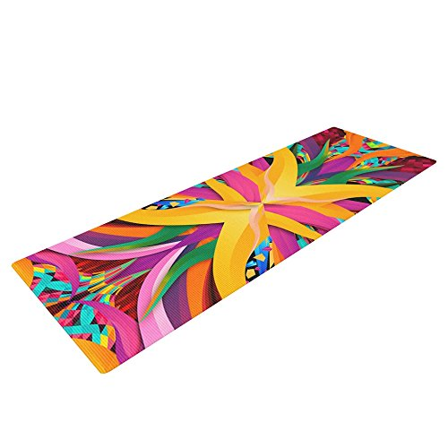 KESS InHouse Danny Ivan Tropical Fun Exercise Yoga Mat, Yellow Pink, 72'' by 24''
