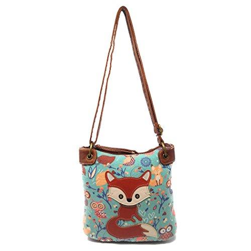 Women Cute Owl Pattern Small Shoulder Bag Blue Faux Leather Cross Body Bag - 4