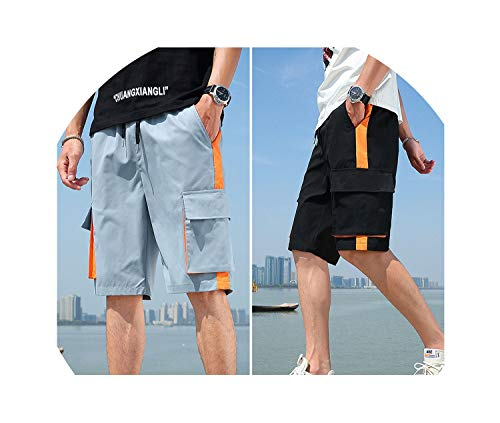 (Men's Pants Casual Summer New Loose Pants 5 Points Overalls,L,D07 Light Blue + D07 Black)