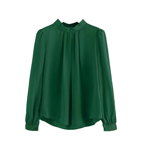 Anxinke Women Long Puff Sleeve Chiffon Shirts Blouse (S, Green) by Anxinke