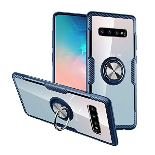 Nicwea Compatible with Galaxy S9 Plus Case with Clear Backing Slim Silicone Rubber Bumper Frame and 360° Rotating Ring Holder Stand Magnetic for Samsung Galaxy S9 Plus - Blue
