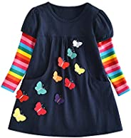 DXTON Little Girl Children Kid Long Sleeve Flower Dresses for 2-8T