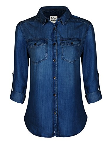 Instar Mode Womens Basic Classic Roll up Sleeve Button Down Chambray Denim Shirt (S-3XL)