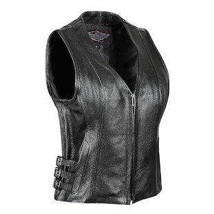 STREET & STEEL Women's Dark Star Leather Motorcycle Vest - LG, Black