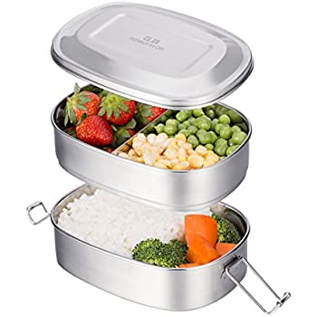 G.a HOMEFAVOR 2 Tier Stainless Steel Bento Lunch Box with 3 Compartments Design, Large 23oz Metal Lunch Box with Lock Clipsfor Kids or Adults- Dishwasher Safe - All Stainless