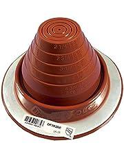 "Dektite #3 Red Silicone Metal Roof Pipe Flashing, High Temp, Round Base, Pipe OD 1/4"" - 5"""