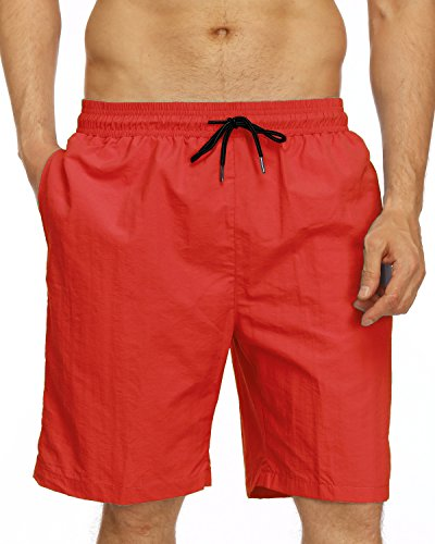 - Kinlonsair Men Quick Dry Solid Lightweight Swim Trunks Board Shorts with Pockets (X-Large, Red)