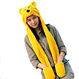 Funnie 21 Novelty Animal HAT Cosplay CAP - Unisex Fit Adult & Children- Soft Warm Headwraps Headwear with Mittens (Winnie The Pooh)