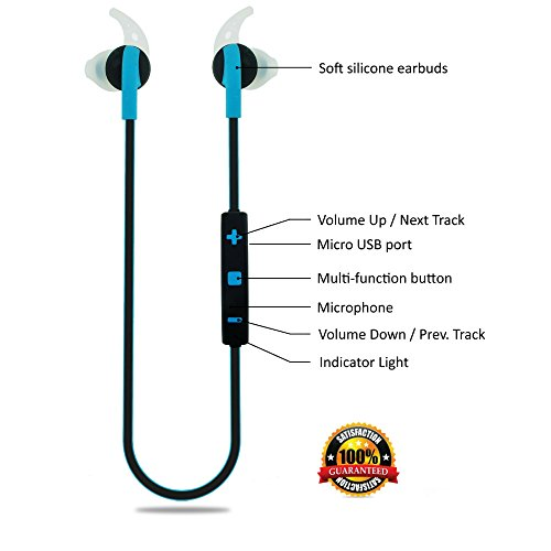 Bluetooth Headphones Wireless in-Ear Sweatproof Earbuds with Microphone for Phone Calls - Best Headset Earphones for Running Exercise Sport Gym on iPhone 6 6s Plus 5C 5S Android Samsung Galaxy S6 S5