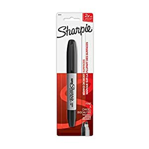 Sharpie Super Twin Tip Permanent Marker, Fine and Chisel, Black, 1 Count