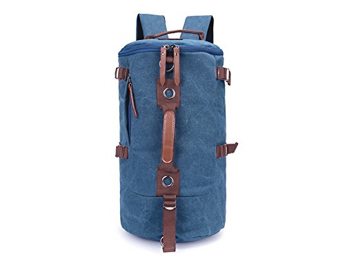 Wesource Canvas Backpack Shoulder Diagonal Casual Men's Large-capacity Multi-purpose Travel Bag Mountaineering Bags(Lake Blue) by Wesource